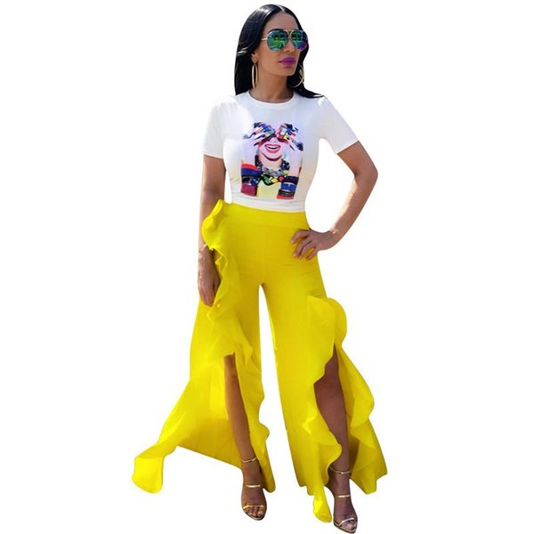 Sexy Two Piece Set Women Short Sleeves Print T Shirt & Split Ruched Long Trouser Pant Hot Fashion Sets N19.6-1873