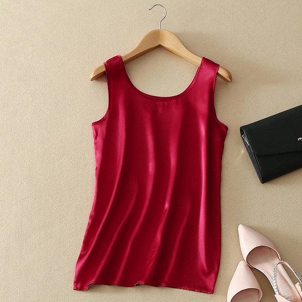 2018 100% Pure Silk Summer Tank Top Fashion Women Blouse Sleeveless Soft Plain Vest Basic T Shirts Great Quality Casual Camisole SH190719