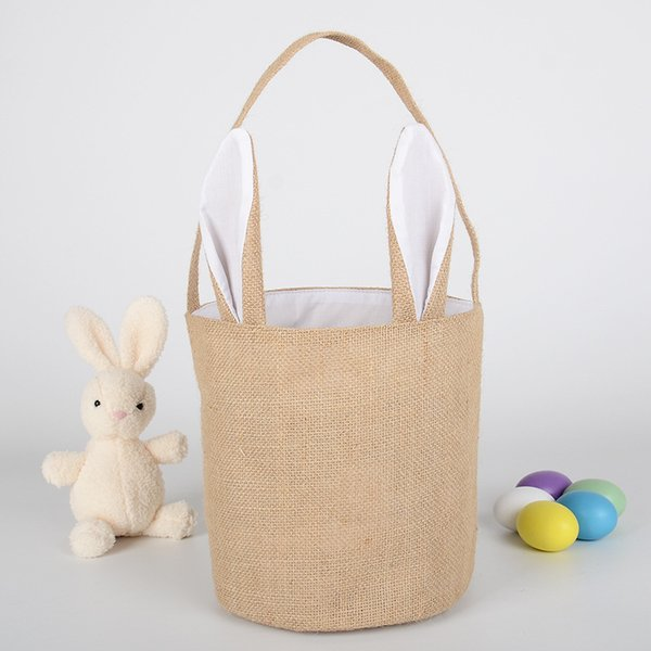 Burlap Easter Baskets Personalized Easter Bunny Buckets Bunny Ears Bucket Gift Bag Egg Organizer 5 Colors