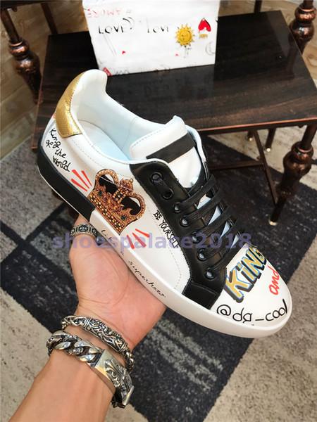 D Homme Männer Frauen Komfort Freizeitschuhe König Der Liebe Mode Luxus Designer Chaussures SEGUI AMORE Schwarz Klassische Leder Crown Sneakers