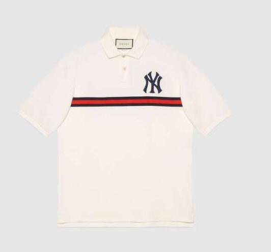 Sommer neue Männer-T-Shirt Buchstaben gestickte Applikation Revers lässig wilde Doppelstrang mercerisierter Baumwolle Kurzarm Männer und Frauen