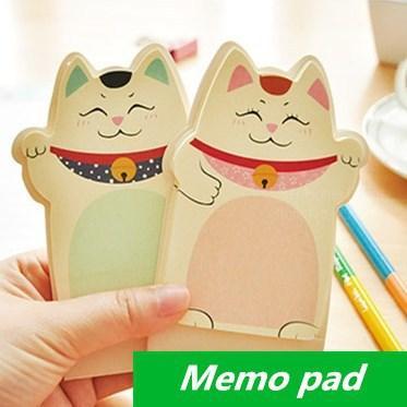 20 pcs/Lot Fortune Cat Memo pad notes notepad Maneki Neko Wholesale stationery Novelty households office School supplies