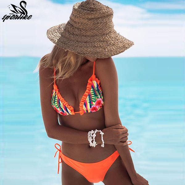 Top Beach Wear Ladies Bikinis Sexy Maillot Halter Traje de baño para mujer Traje de baño con volantes Traje de baño estampado sin tirantes 2019 Y19072401