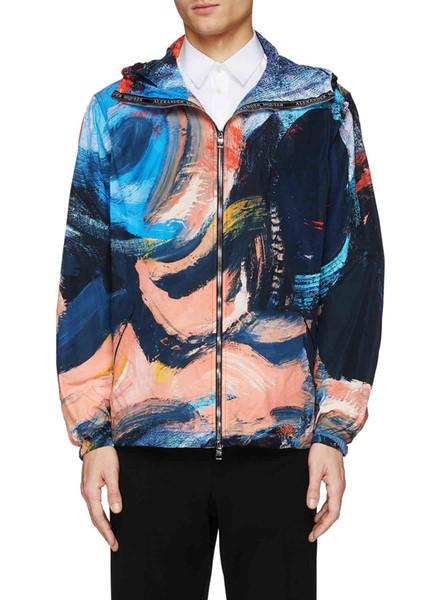 Nueva capa de la manera aceite de pintura con capucha de la chaqueta de bienvenida de la calle principal de la chaqueta de la moda de los hombres rompevientos chaqueta de los hombres de Harajuku