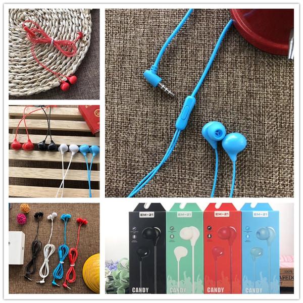 2019 Auriculares coloridos de 3.5 mm para auriculares in-ear con micrófono auriculares estéreo para todos los teléfonos IOS, teléfonos móviles con Android, teléfonos inteligentes con embalaje