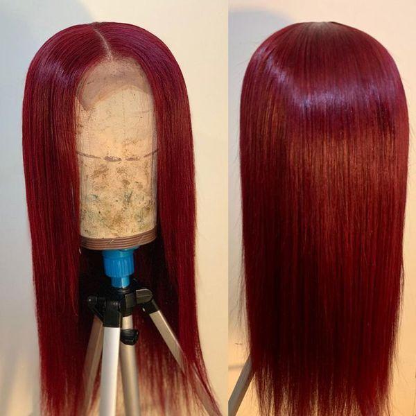 Rouge Bourgogne Lace Front Perruques de cheveux humains pour les femmes noires Straight Lace Front perruque Ombre Péruvienne Remy Perruques de cheveux humains