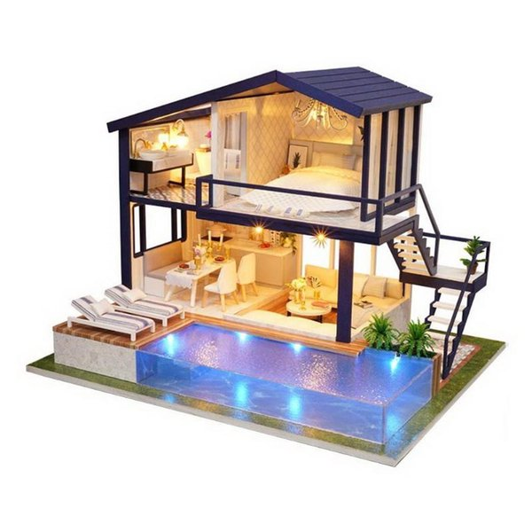 Dollhouse Model Wooden Toy Miniature Large Villa Hand-assembled Wooden DIY Doll House