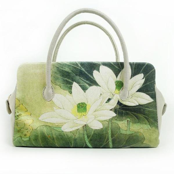 No ondule los bolsos originales de las mujeres exportados a bolsas de lona japonesas. Nuevo loto impreso. Bolso de moda National Wind.