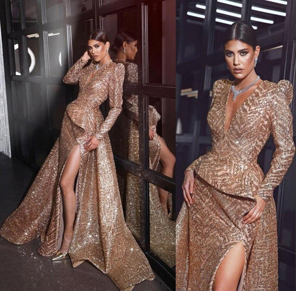 Manica lunghi abiti da sera di lusso con oro paillettes Front Side fessura 2019 Mermaid Prom Dresses Madre della Sposa Abiti BC0858
