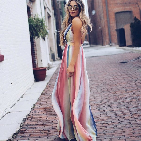 Women Sexy Dresses Designer Women Summer Holiday Dresses New Arrival Fashion Luxury Printed Bohemian Casual Dresses Size S-XL