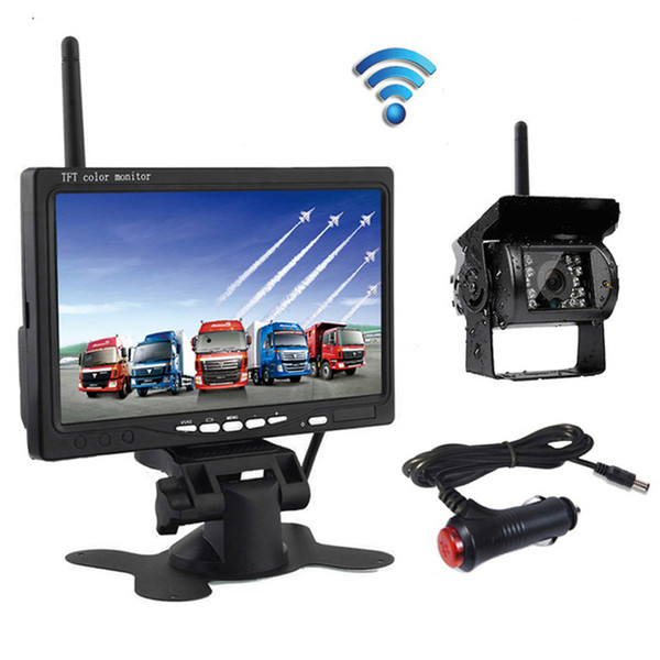 top popular Wireless 7 Inch HD TFT LCD Vehicle Rear View Monitor Backup Camera Parking System With Car Charger for Truck RV Trailer Bus Harvester 2021
