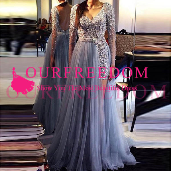 2020 Simple Design Scoop Neckline Prom Dresses Long Sleeves Tulle Beaded Formal Occasion Evening Dresses Custom Made Hot Sale Plus Size Gown