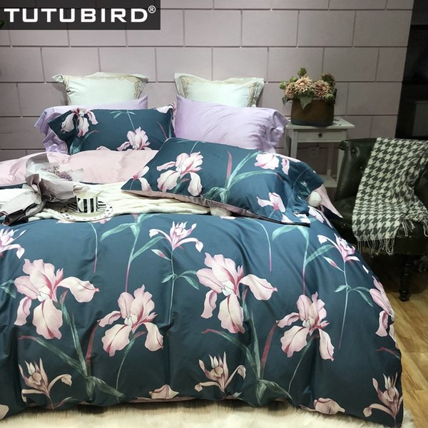 Ropa de cama de algodón egipcio de lujo ropa de cama azul sábanas florales Funda de edredón de satén princesa pastoral colcha