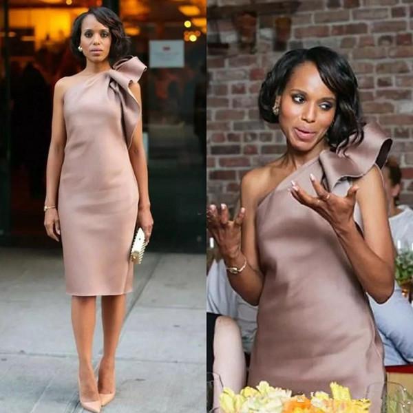 -De-rosa empoeirado elegante Elastic Silk como cetim curto mãe da noiva vestidos baratos Pne ombro drapeado Tamanho do Joelho Vestido formal personalizado