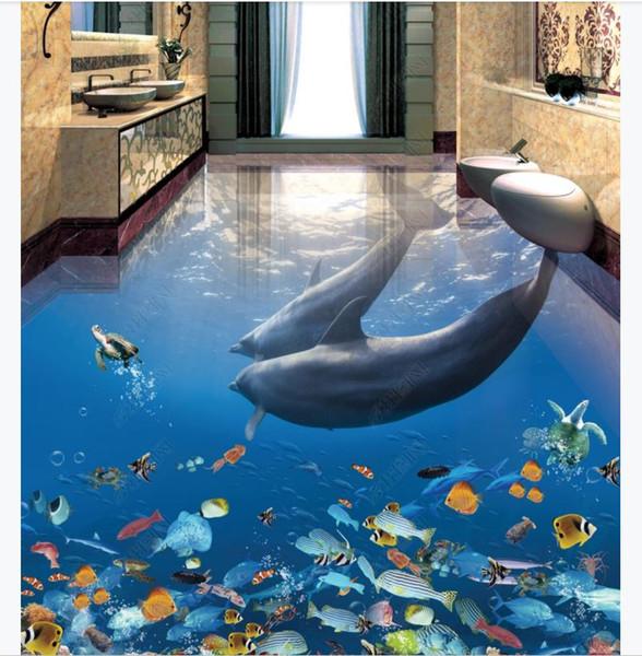 Carta da parati murale autoadesiva in PVC foto 3D personalizzata Dolphin Underwater World 3D Stereo Bagno Soggiorno Pavimento per pavimento