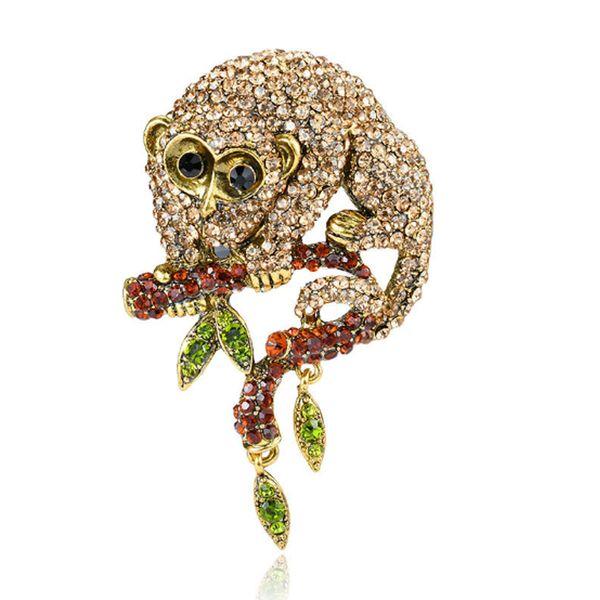 New zodiac monkey brooch PIN jewelry full rhinestons animal brooch alloy monkey brooch pin jewelry for women coat accessories