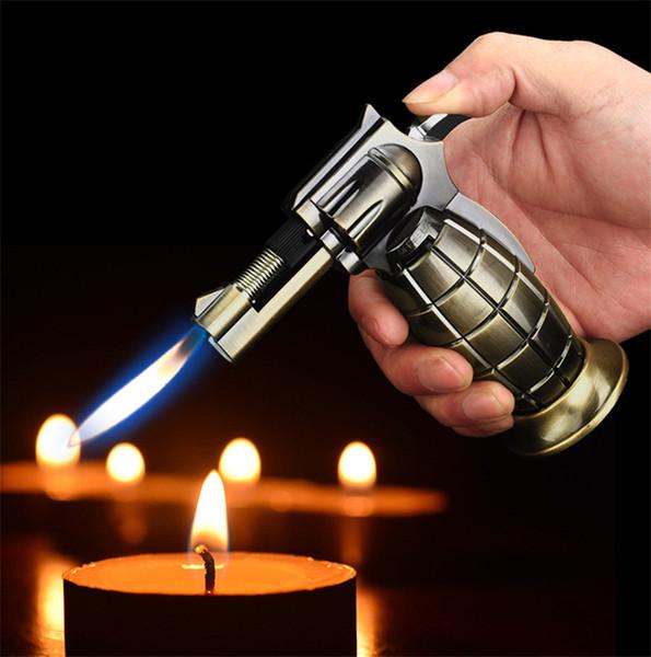 Gás de granada Butano gás Tocha isqueiro Jet flama Windproof Recarregável charuto cigarro Mais Leve ferramenta de Cozinha Pistola de pulverização Jet Flame lighte