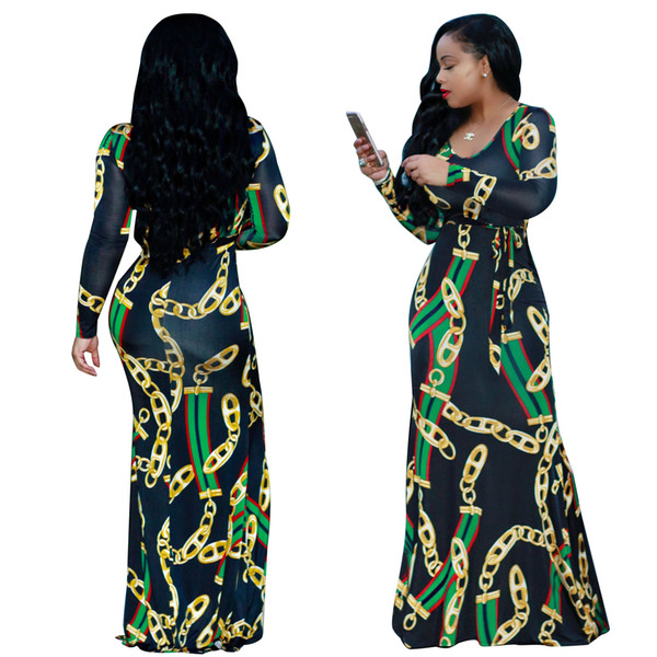 S-XXXL Ladies Red Green stripe Golden Chains Printed Maxi Dress Woman Autumn Casual O Neck Long Sleeve Belted Dresses Party Dress