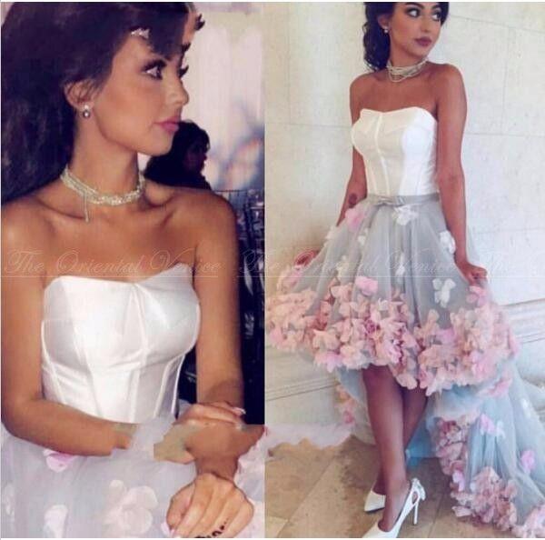 2019 Cheap Handmade 3D Flores Alta Baixa Prom Dress Dubai Caftan da frente árabe curto tempo de volta Vestidos Cocktail Party Dress