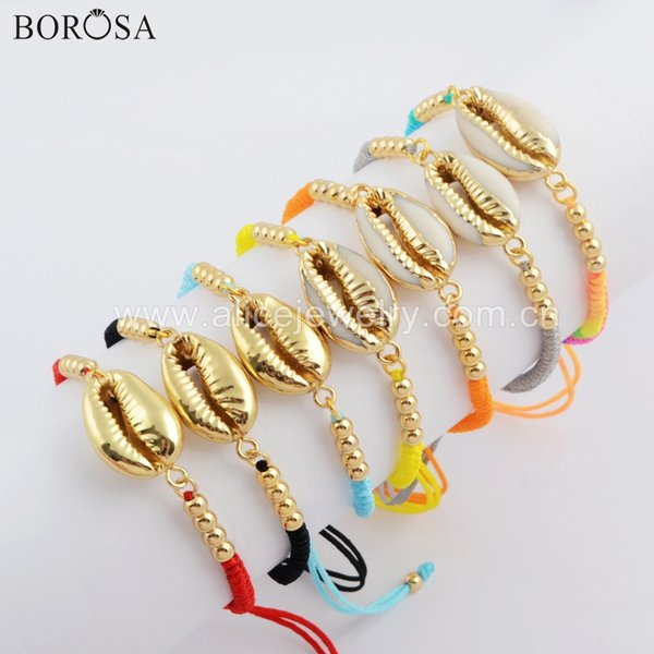 BOROSA 5PCS Fashion Natural Cowrie Shell Rainbow Weave Rope Adjustable Bracelet Handcrafted Bangle Jewelry for Women HD0021