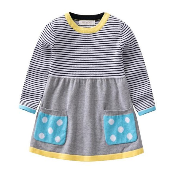 Girls Sweater Clothing dress 0-5T Kids Baby knit clothes girl soft Autumn and winter quality100% cotton Extended stripe sweater