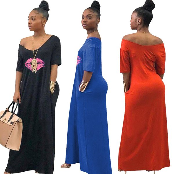 Donne Maxi Dress Summer V Neck Lips Stampa Ladies Casual Abiti lunghi Moda manica corta Off spalla Beach African Sundress C43007