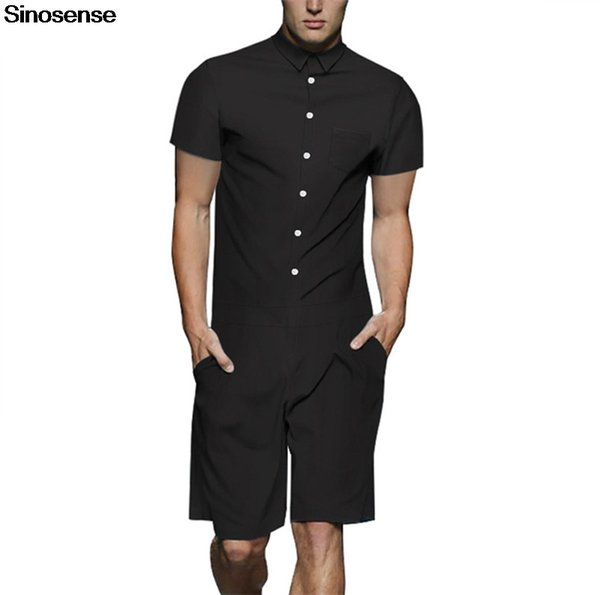 New Summer Men Rompers 2019 Short Sleeve Short Jumpsuit Playsuit Harem Cargo Overalls One Piece Solid Streetwear Casual Romper