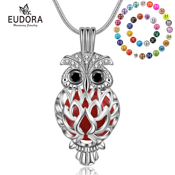 wholesale 14mm Pregnancy bola Pendant Harmony Ball Necklace Owl Cage Locket Jewelry fit Musical Sound Chime Ball Lava Stone K332N14