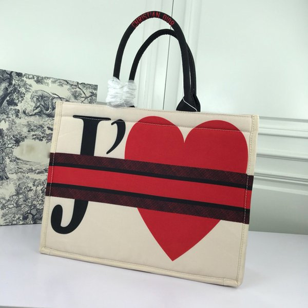 New Book Tote Designer Calf Geniue Leather Women's Handbags Print shopping Heart Pattern Beach High Quality Ladies' Bags