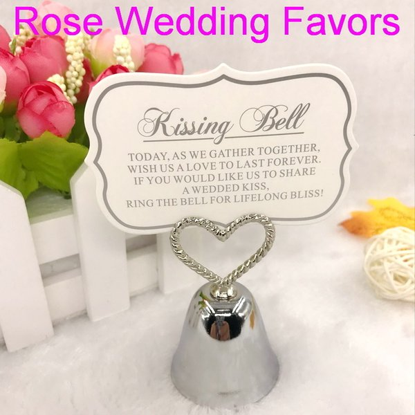 (30pcs/lot)FREE SHIPPING+Kissing Bell Silver/Gold Bell Place Card Holder/Photo Holder Wedding Table Decoration Favors SH190913