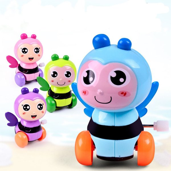 Child Early Educational Plastic Bee Insect Clockwork Toy A Lovely Animal Cartoon Cute Bee Wind Up Toys Gift Color Random