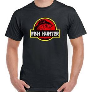 Das lustige Fischen-T-Shirt der Fisch-Jäger-Männer Jurassic Park Parody Rod Reel Carp Sea