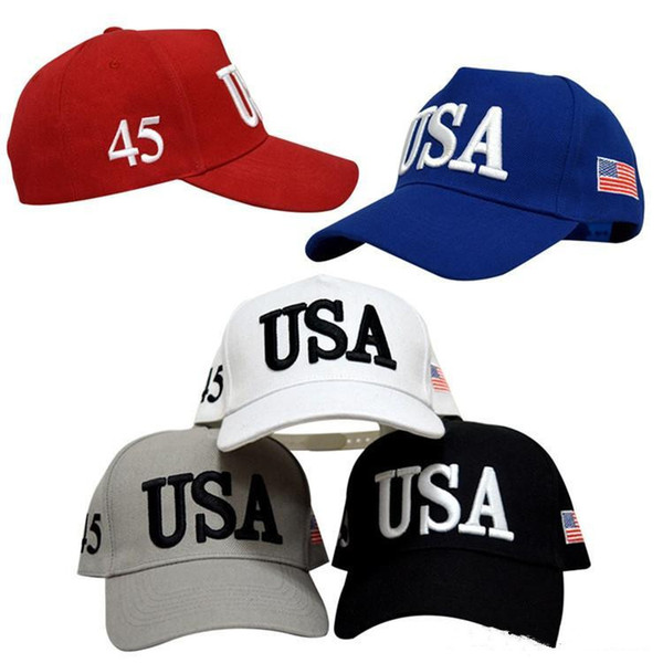 top popular USA Flag New Cap Cotton Baseball Hat Cap 45 President Donald Trump Support Baseball Hat Unisex Adjustable Novelty Caps DHL Free 2021