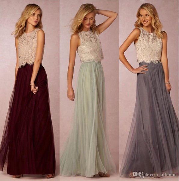 2018 New Design Two Pieces Cheap Bridesmaid Dresses A Line Scoop Neck Tulle Floor Length Wedding Party Gowns