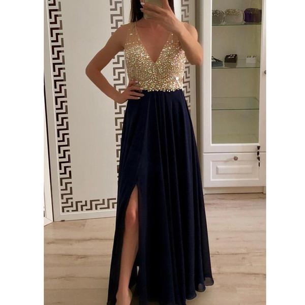 Navy Blue Chiffon A Line Prom Dresses Shining Sequins V Neck Side Split Evening Gowns Robe de soirée Custom Formal Party Gowns