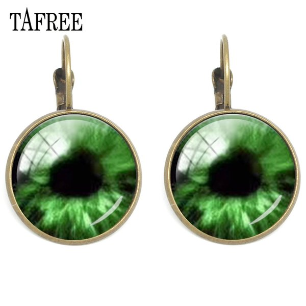 TAFREE Dragon Evil Eye Clip Earrings Attractive New Fashion Cat Eye Earring Men Women Glass Badge Animals Eye Jewelry Gift EY199