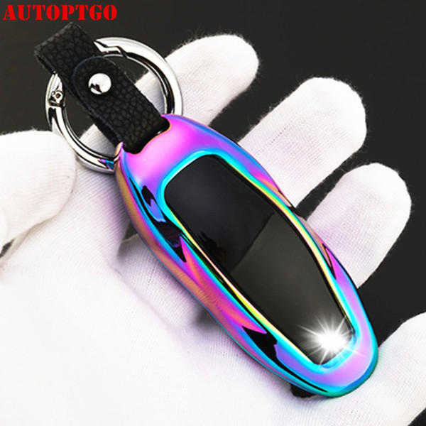 Style Aluminum Alloy Car Key Case Shell Cover Silver for Tesla Model S
