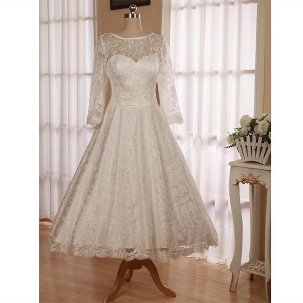 2019 Simple Ivory Lace Country Wedding Dresses Knee Length 3/4 Sleeves  Beach Bridal Gowns Custom Backless Plus Size Wedding Gowns Off The Peg  Wedding ...