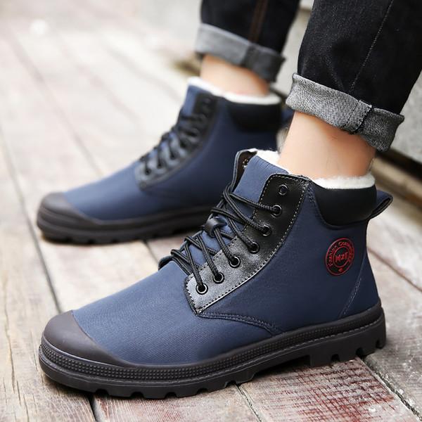 Plus Size 45 Men Ankle Boots Winter Wedges Rubber Warm Snow Boots Male Short Plush Lace Up Walking Shoes Male Solid