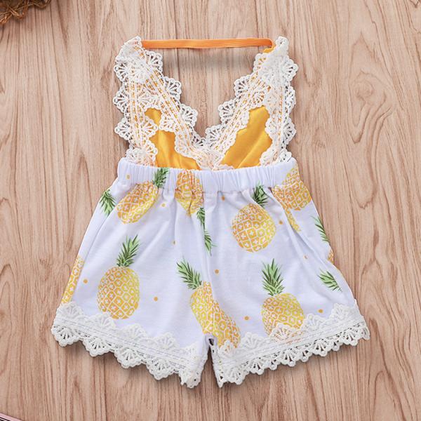 Bebek Kızlar Dantel Backless Ananas Bodysuits Yaz 2019 Çocuklar Butik Giyim Euro Amerika Bebek Yürüyor Kızlar V Yaka Tulumlar