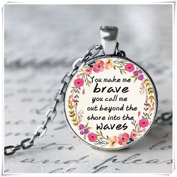 New inspirational statement glass pendant necklace Flower decorative letter printed silver necklace Inspiring children brave gift