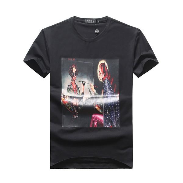 Algodão O-pescoço T-Shirts dos homens # 3383 Verão Marca Homens Pulôver de Manga Curta T Camisas Tees Hip Hop Moda Masculina Carta de Impressão Tops Casuais