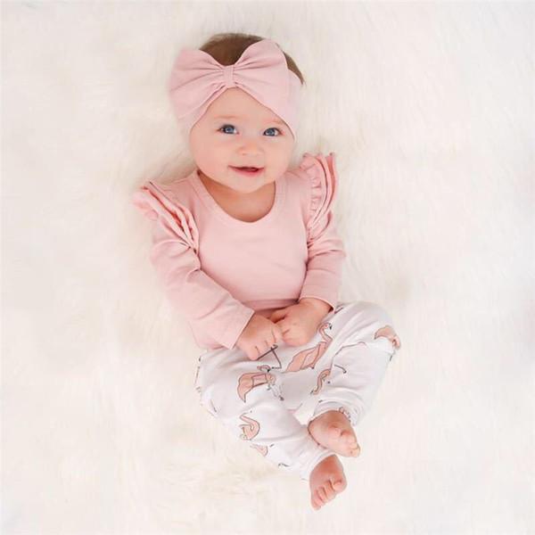 Baby Girl Одежда для малышей Детские топы + фламинго с принтом + Оголовье 3 шт. Наборы детской одежды Наборы детской дизайнерской одежды для девочек FJ166