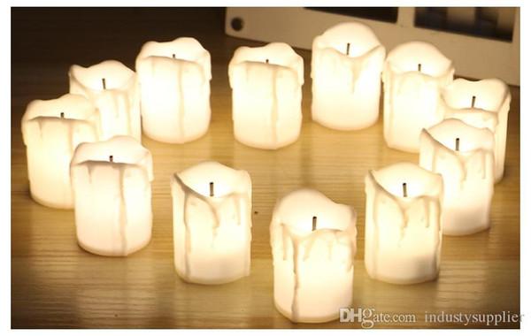 Velas do dia das bruxas LED Vela sem chama Luzes elétricas operadas por bateria Lâmpadas românticas para o casamento Gota Lágrima Velas Flicker A02