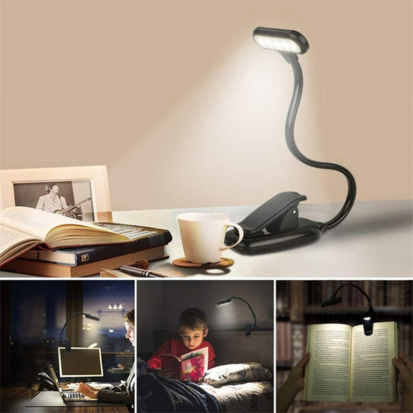 best selling Rechargeable LED USB Book Light Reading Light Flexible Book Lamp Dimmer Clip Table Desk Lamp Portable Clip Light