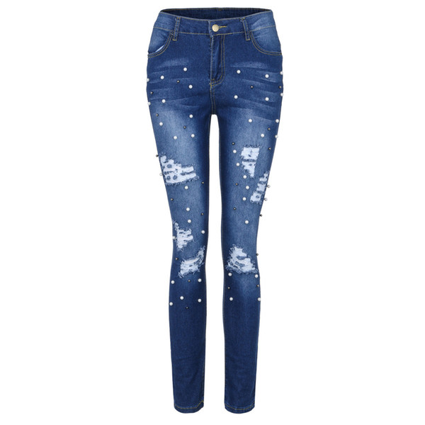 CHAMSGEND Women's Hand Grinding Hole Jeans Fashion Stretch Jeans High Waist Slim Sexy Pencil Pants Button Skinny Fe6