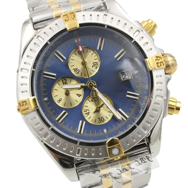 Mens Watch Chronomat Evolution Chronograph Two Tone Yellow Gold Stainless Steel Quartz Stopwatch Avenger B13356 Male Clock Wrist Watch Sale