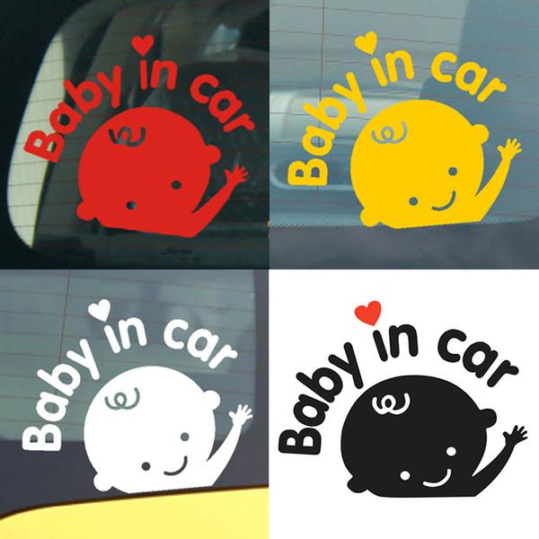 Araba styling 3D Karikatür Araba Çıkartmaları Bebek Içinde Araba Isınma Oto Sticker Bebek Yüksek Kalite Dewtreetali Yansıtıcı Su Geçirmez Paster