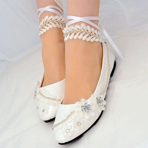 New Aprial Flats Lace Wedding Shoes Bride Ankle Strap Lace White Crystal Rhinestones Bridal Wedding Flower Girl Flats Shoe Basketball Shoes Mens Shoes