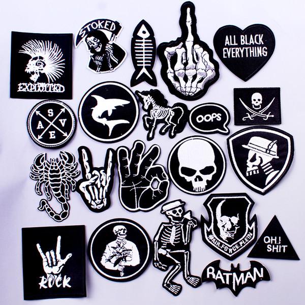 Pulaqi Rock Musique Métal Patch Patch Vêtements De Fer Sur Des Patchs pour Vêtements Punk Stripe DIY Brodé Badges Pour Vêtements Autocollants